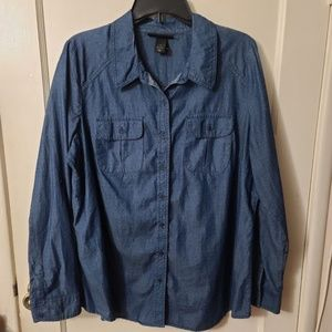 LANE BRYANT Plus Size Chambray Polka Dot Shirt 18